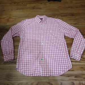 J Crew Long Sleeve Shirt Checkered Red White Large